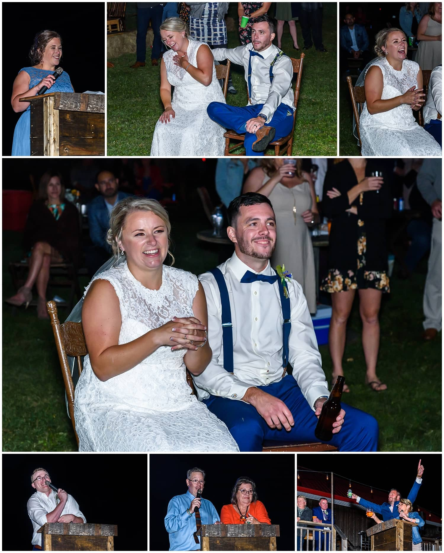 The bride and groom laughing during wedding speeches at the Barn at Sadie Belle Farm in NS.