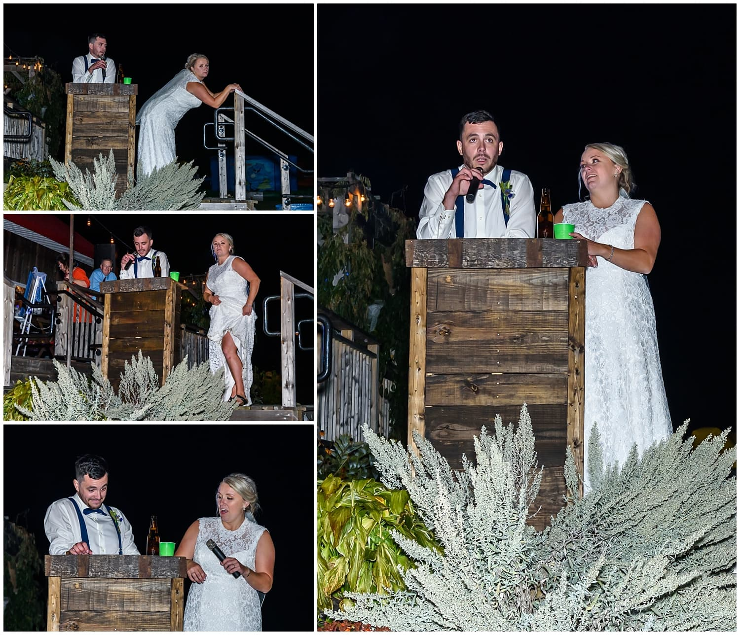 The bride and groom give their thank you speech during their wedding at the Barn at Sadie Belle Farm in Hantsport, NS.