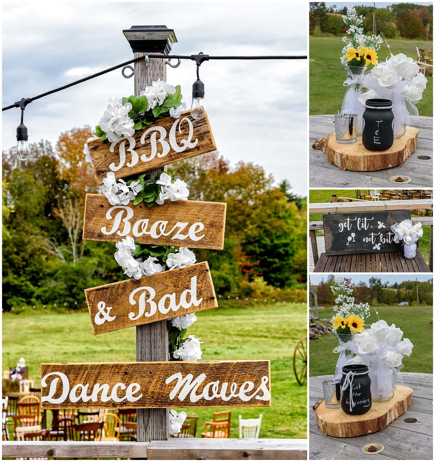 The wedding reception set up for a wedding day at the Barn at Sadie Belle Farm in Hantsport NS with wooden wedding signs.