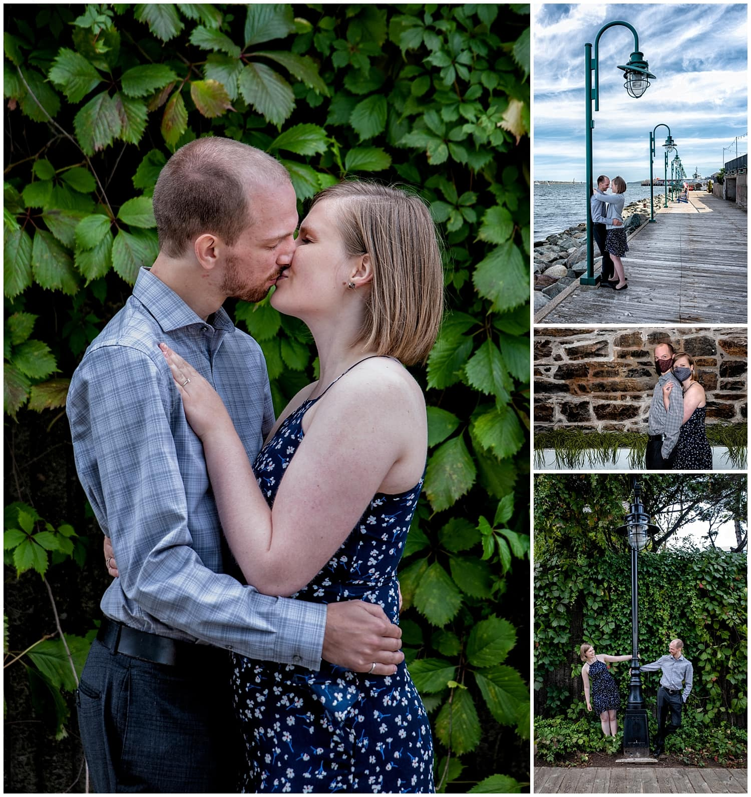 A cute couple poses for their engagement photos in the Historic Properties of Halifax, NS.