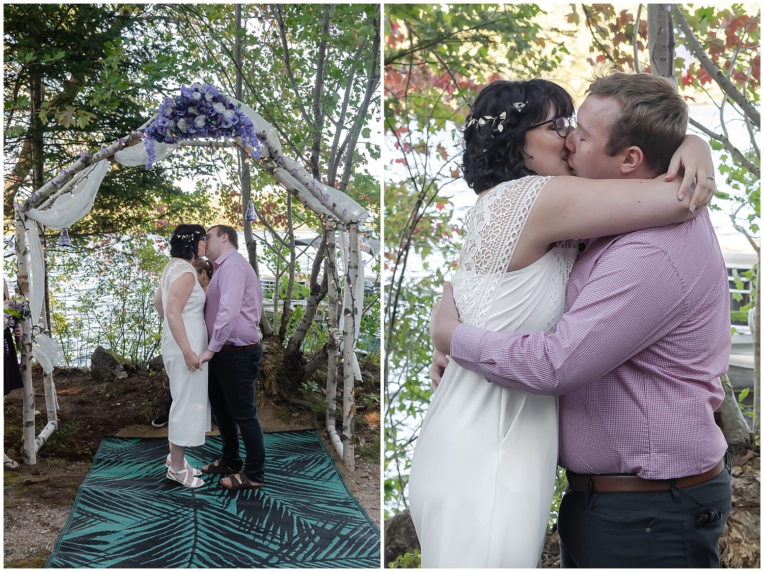 The bride and groom have their first kiss during their covid intimate wedding ceremony in Hubbards NS.