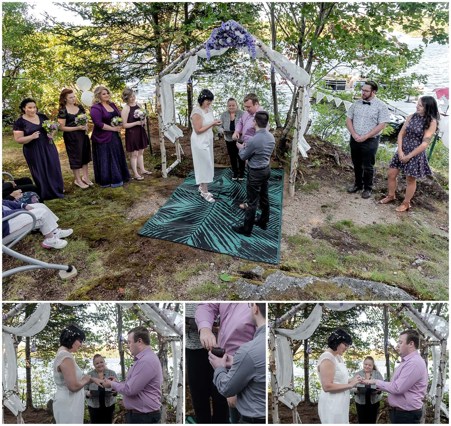 The bride and groom exchange wedding rings during their intimate covid wedding in Hubbards NS.