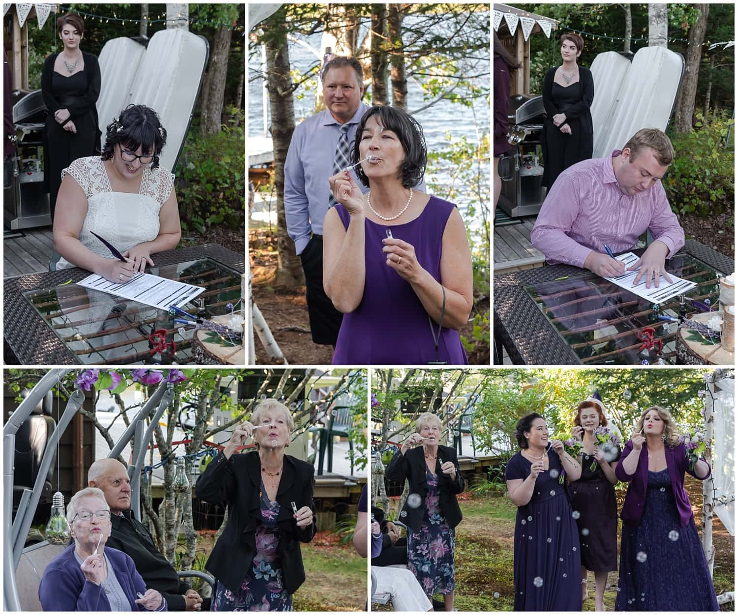 The bride and groom sign their marriage certificate while guests and bridesmaids blow bubbles around them during their covid intimate wedding ceremony in Hubbards NS.