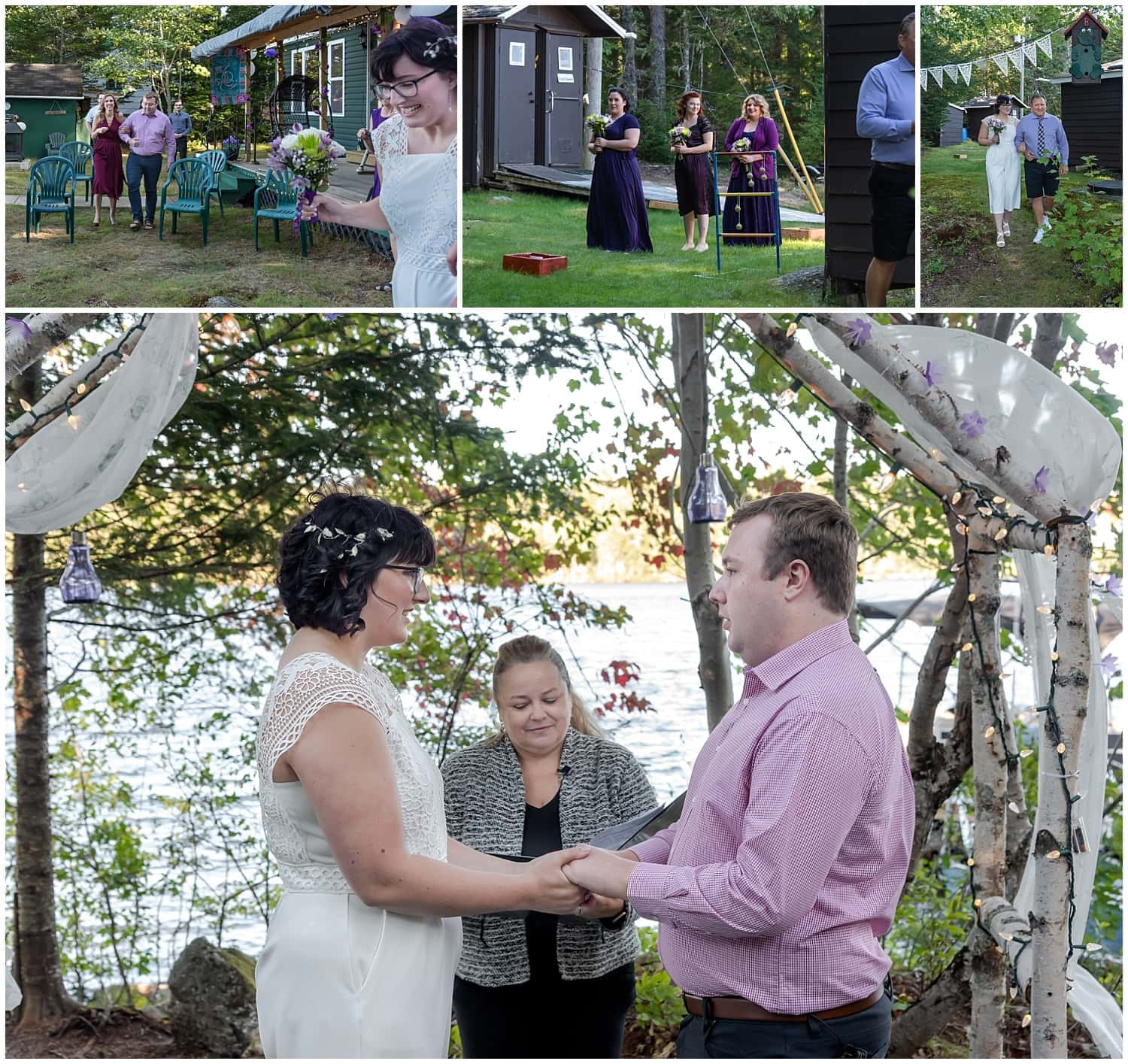 A bride and groom get married during an intimate wedding ceremony at a cottage in Hubbards NS during covid.